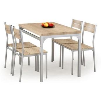 Zestaw MALCOLM stół + 4 krzesła dąb sonoma HALMAR