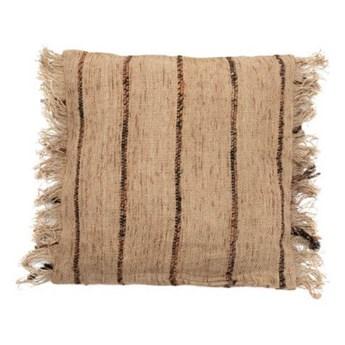 Beżowa poduszka dekoracyjna w paski 40x40 S'il z bawełny BAZAR BIZAR