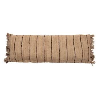 Duża beżowa poduszka dekoracyjna w paski S'il 35x100 z bawełny BAZAR BIZAR