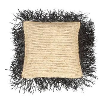 Naturalna poduszka dekoracyjna 40x40 z rafii Square z czarnymi frędzlami BAZAR BIZAR