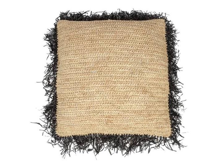 Naturalna poduszka dekoracyjna 60x60 z rafii Square z czarnymi frędzlami BAZAR BIZAR