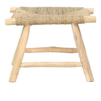 Krótka ławka taboret Porto z drewna tekowego i trawy morskiej BAZAR BIZAR