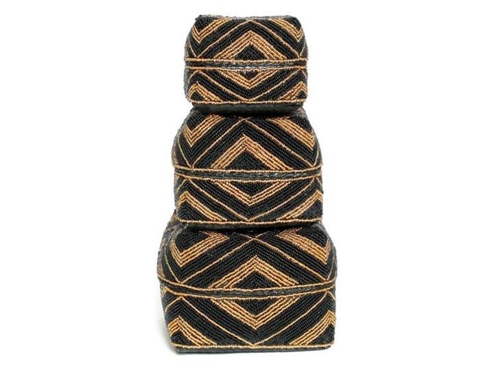 Zestaw 3 ozdobne koszyki Beaded Mix z bambusa i koralików BAZAR BIZAR Kwadratowe Prostokątne Okrągłe Poduszka dekoracyjna 40x40 cm Pomieszczenie Salon