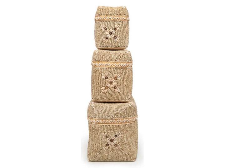 Zestaw 3 sztuki ozdobne koszyki do przechowywania Beaded Flowers z bambusa i koralików BAZAR BIZAR