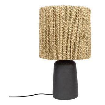 Lampa stołowa Chalki Black z abażurem z trawy morskiej BAZAR BIZAR