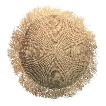 Duża naturalna okrągła poduszka dekoracyjna z rafii Round 60 BAZAR BIZAR