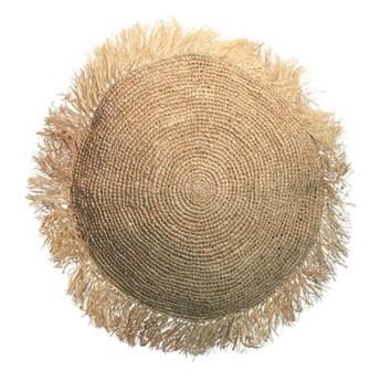Naturalna okrągła poduszka dekoracyjna z rafii Round 40 BAZAR BIZAR