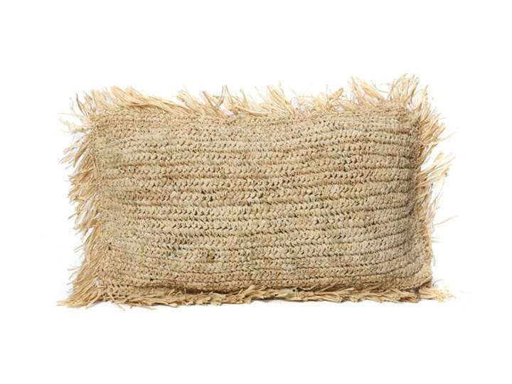 Naturalna poduszka dekoracyjna 30x50 z rafii Rectangular BAZAR BIZAR Pomieszczenie Salon 30x50 cm Kwadratowe Prostokątne Okrągłe Kolor Beżowy