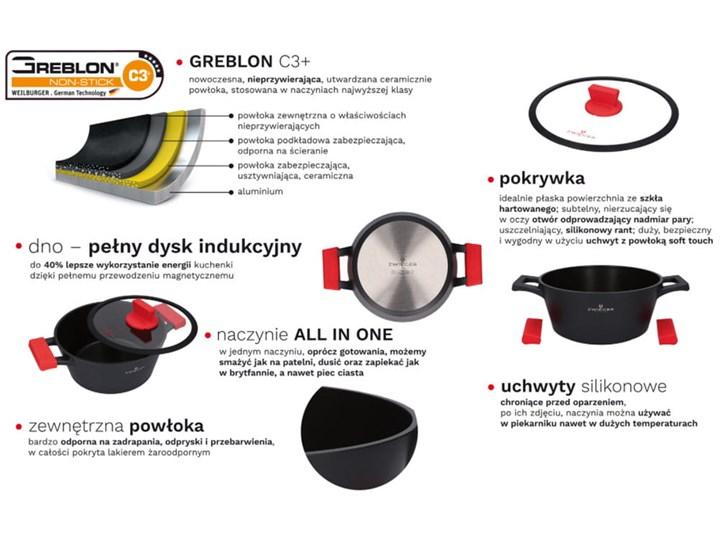 Garnki Zwieger Obsidian zestaw garnków 8 elementów z powłoką Greblon C3+ Aluminium Kategoria Zestawy garnków i patelni Kolor Czarny