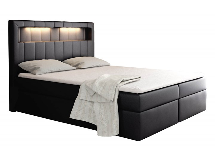 Łóżko kontynentalne 200x200 ASPEN / z pojemnikiem Tkanina Kategoria Łóżka do sypialni Kolor Szary