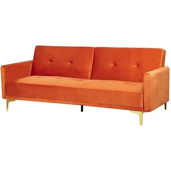 Sofa rozkładana 3-osobowa pomarańczowa welurowa pikowana z poduszkami metalowe nogi nowoczesna do salonu