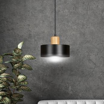 TORIN 1 BLACK 1046/1 nowoczesna lampa sufitowa czarna drewniane elementy