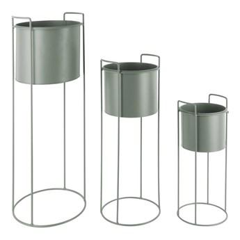 Zestaw 3 zielonych żelaznych doniczek na stojakach PT LIVING Essence