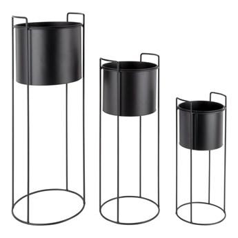 Zestaw 3 czarnych żelaznych doniczek na stojakach PT LIVING Essence
