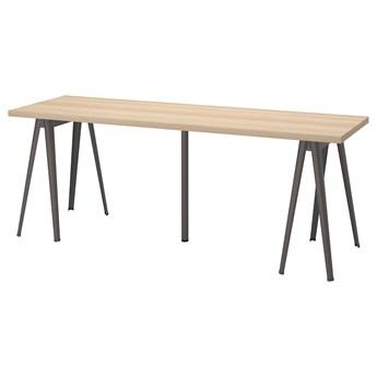 IKEA LAGKAPTEN / NÄRSPEL Biurko, Dąb bejcowany na biało/ciemnoszary, 200x60 cm