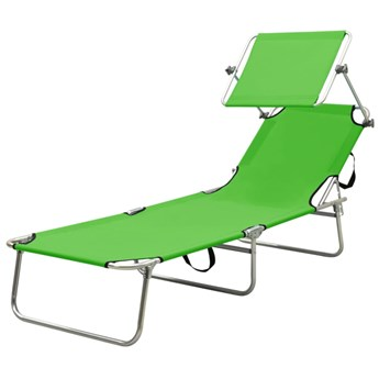 Zielony leżak ogrodowy z zadaszeniem - Lorenzo