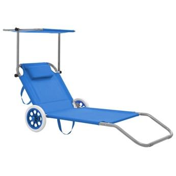 Niebieski leżak ogrodowy z kółkami i zadaszeniem - Miriam