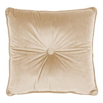 Jasnobeżowa poduszka Tiseco Home Studio Velvet Button, 45x45 cm
