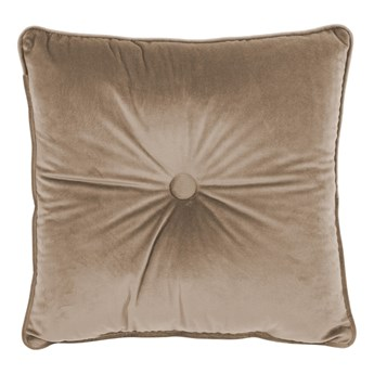 Jasnobrązowa poduszka Tiseco Home Studio Velvet Button, 45x45 cm