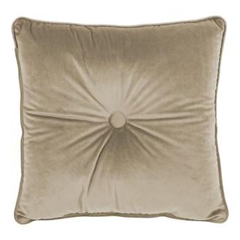 Beżowa poduszka Tiseco Home Studio Velvet Button, 45x45 cm