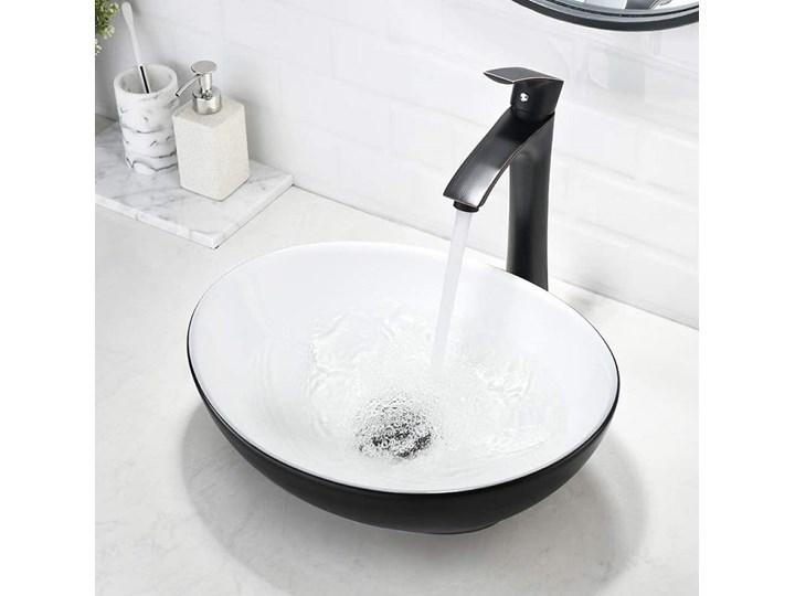 VELDMAN UMYWALKA NABLATOWA VERA CZARNO-BIAŁA Szerokość 41 cm Meblowe Kolor Czarny Ceramika Nablatowe Kolor Biały