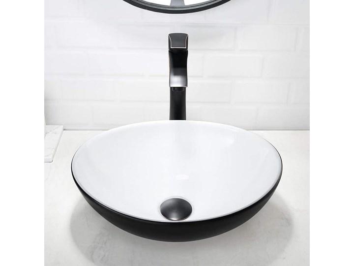 VELDMAN UMYWALKA NABLATOWA VERA CZARNO-BIAŁA Szerokość 41 cm Ceramika Meblowe Nablatowe Kolor Czarny