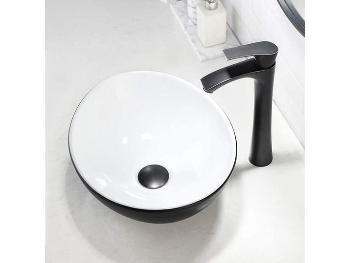 VELDMAN UMYWALKA NABLATOWA VERA CZARNO-BIAŁA Nablatowe Meblowe Ceramika Szerokość 41 cm Kolor Czarny
