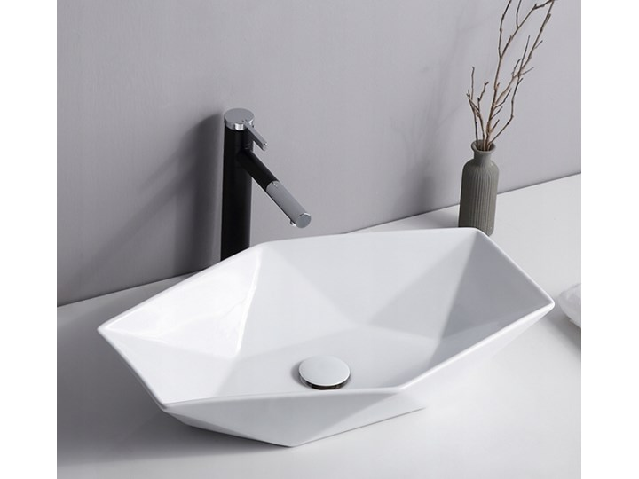 VELDMAN CERAMICZNA UMYWALKA NABLATOWA SONET ROZMIARY Nablatowe Szerokość 57 cm Asymetryczne Ceramika Meblowe Kategoria Umywalki Kolor Biały
