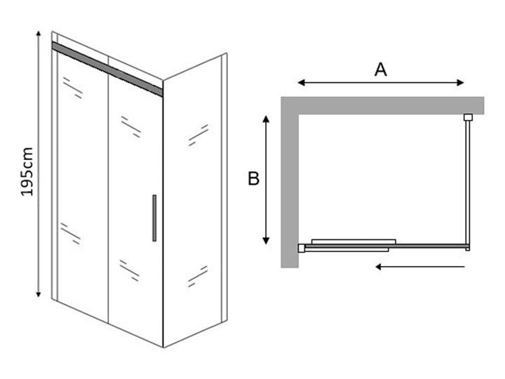 PRZESUWNA KABINA PRYSZNICOWA PORTO  8mm Wysokość 195 cm Rodzaj drzwi Rozsuwane Kategoria Kabiny prysznicowe