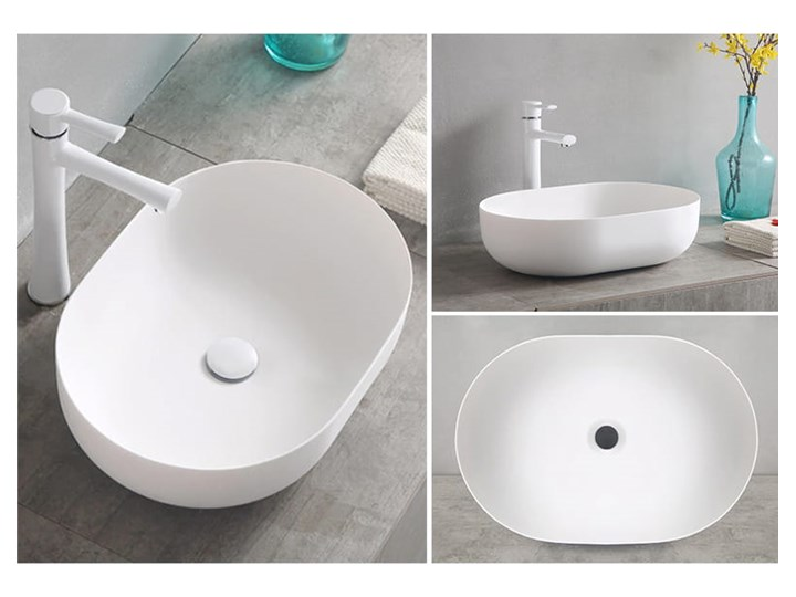 VELDMAN UMYWALKA ANNA SLIM CIENKIE KRAWĘDZIE Owalne Ceramika Meblowe Szerokość 48 cm Nablatowe Kategoria Umywalki