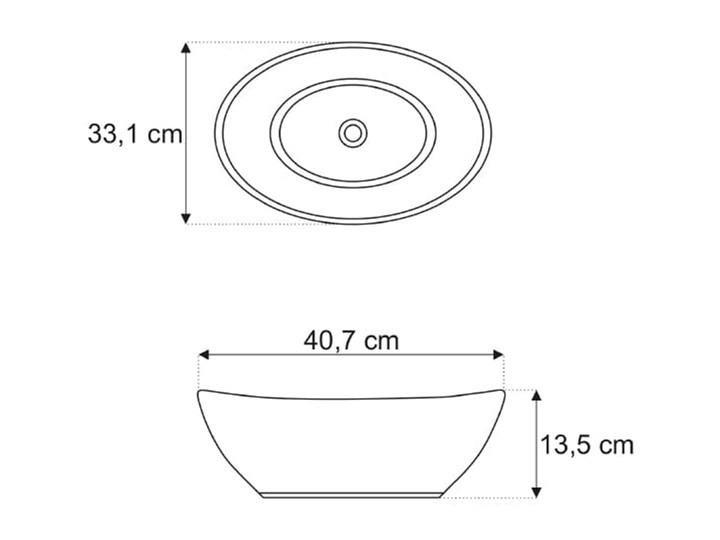 VELDMAN UMYWALKA CZARNA VERA BLACK Szerokość 41 cm Ceramika Nablatowe Owalne Meblowe Kolor Czarny