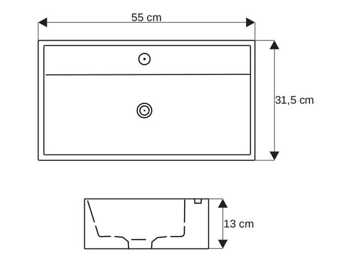 VELDMAN UMYWALKA NABLATOWA CERAMICZNA ELANA Kategoria Umywalki Prostokątne Meblowe Szerokość 55 cm Nablatowe Ceramika Kolor Biały