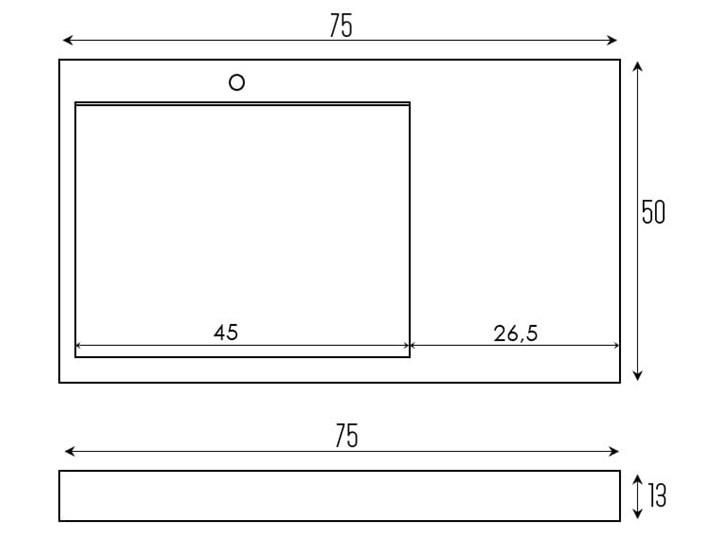 VELDMAN UMYWALKA KONGLOMERAT CASPAR 75x50cm Podwieszane Szerokość 50 cm Szerokość 75 cm Nablatowe Kategoria Umywalki