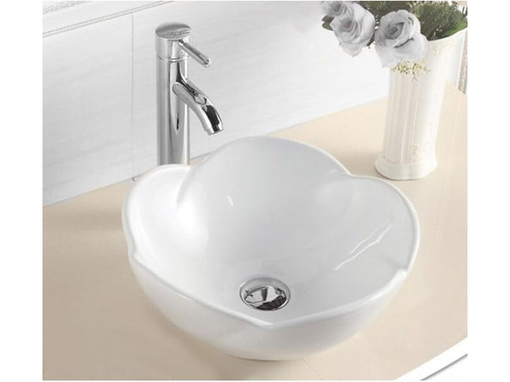 VELDMAN UMYWALKA CERAMICZNA ROSE Nablatowe Meblowe Asymetryczne Szerokość 40 cm Kategoria Umywalki Ceramika Kolor Biały