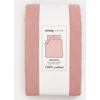 Sinsay - Komplet bawełnianej pościeli - Różowy