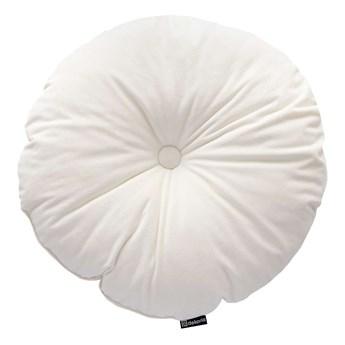 Poduszka okrągła Velvet z guzikiem, śmietankowa biel, ⌀37 cm, Velvet