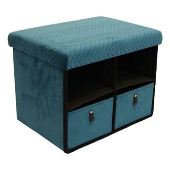 Pufa z szufladami Hiding 50cm niebieski