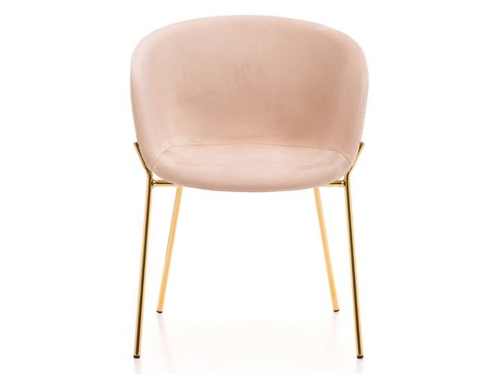 Krzesło Glamour ze złotymi nogami ZL-1486 beż welur Tkanina Z podłokietnikiem Metal Tapicerowane Tworzywo sztuczne Kolor Beżowy