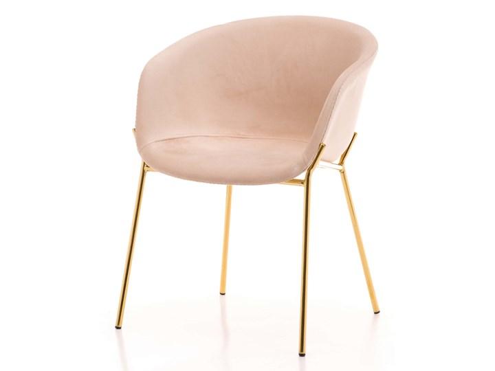 Krzesło Glamour ze złotymi nogami ZL-1486 beż welur Tworzywo sztuczne Metal Tkanina Z podłokietnikiem Tapicerowane Kolor Beżowy