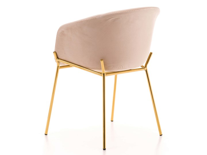 Krzesło Glamour ze złotymi nogami ZL-1486 beż welur Metal Pomieszczenie Jadalnia Tapicerowane Z podłokietnikiem Tworzywo sztuczne Tkanina Styl Nowoczesny