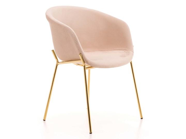 Krzesło Glamour ze złotymi nogami ZL-1486 beż welur Tworzywo sztuczne Metal Tapicerowane Tkanina Z podłokietnikiem Kolor Beżowy
