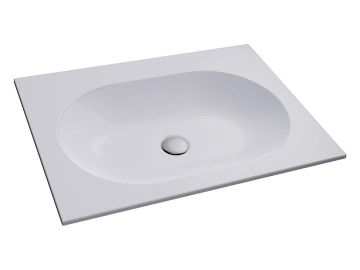 Umywalka wpuszczana RAJA biała 50cm Marmur Wpuszczane Konglomerat Kamień naturalny Szerokość 50 cm Prostokątne Kolor Biały Kategoria Umywalki