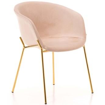 Krzesło tapicerowane Glamour ZL-1486 beż, złote nogi, welur