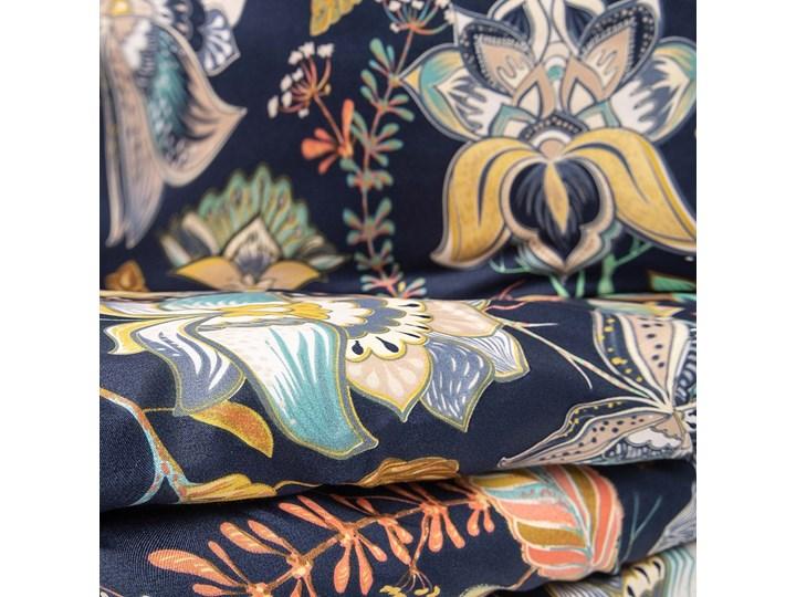 OTAMO Komplet pościeli z mikrofibry w liście i kwiaty 160x200 cm - Homla Mikrofibra Kolor Wielokolorowy Kolor Granatowy