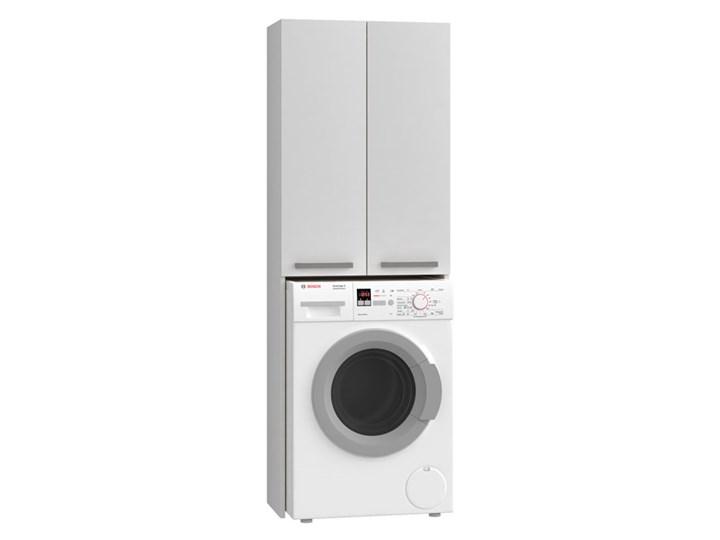 Biała szafka nad pralkę z półkami - Sevika