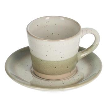 Filizanka do kawy ze spodkiem Elida bezowo-zielona ceramiczna