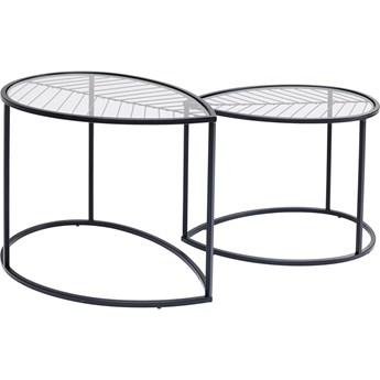 Zestaw dwóch stolików kawowych Linnea czarne - blaty szklane