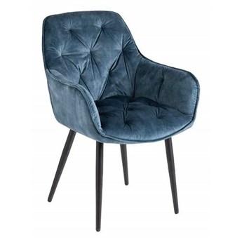 Niebieskie pikowane krzesło tapicerowane - Navi