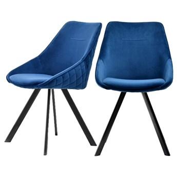 SELSEY Zestaw dwóch krzeseł tapicerowanych Jarel niebieskie pikowane