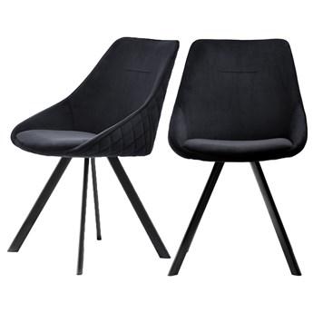 SELSEY Zestaw dwóch krzeseł tapicerowanych Jarel czarne pikowane